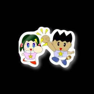 WANPA's STOREのミニわんぱ君としおりちゃん Stickers