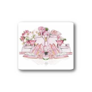 ピンクのファッションアイテム ステッカー