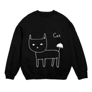 猫と傘 白抜き・黒縁あり Sweats