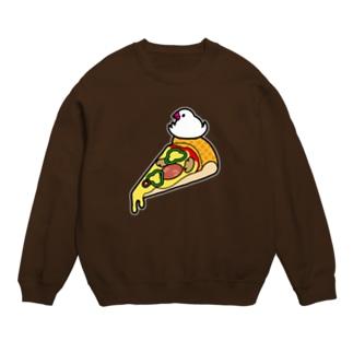 ピザで暖をとる文鳥(素材が濃い色用) スウェット