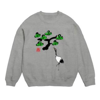 松と鶴 墨絵風Tシャツ Sweats