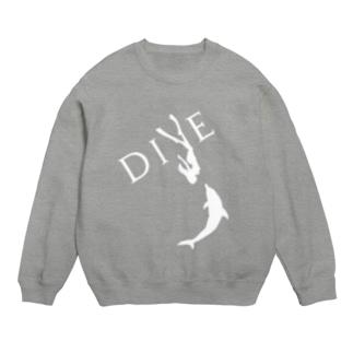 【DIVE】ドルフィンスイム 白 -イルカとスキンダイビング- Sweats