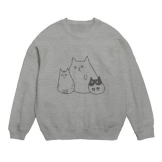 いつもの③猫 グレー スウェット