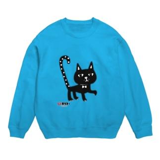 水玉しっぽの黒猫ちゃん スウェット