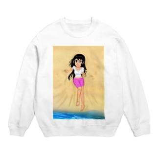 カラー黒髪女子浜辺 Sweats