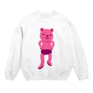 潔い姿の熊(ピンク) スウェット