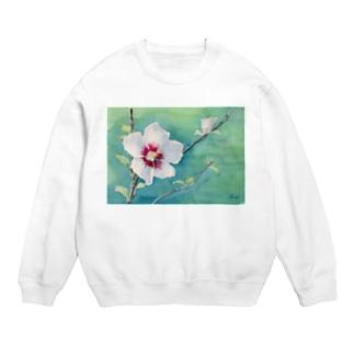 ムクゲ:透明水彩でお花の絵 スウェット