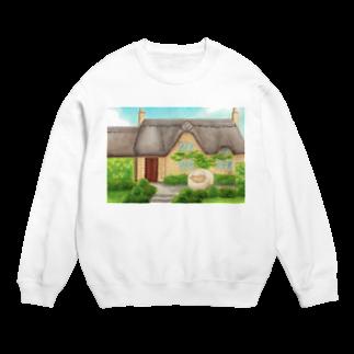 ひつじ好きの未草のギャラリーの茅葺屋根のお家とひつじさん Sweats
