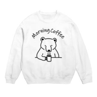 モーニングコーヒー クマ 熊 動物イラストアーチロゴ Sweats