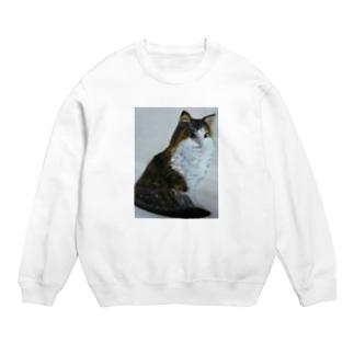 猫のデザイン 油絵 スウェット