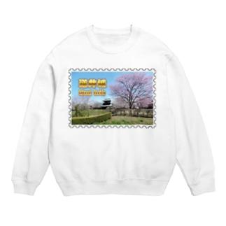 日本の城:桜咲く逆井城の春景色★白地の製品だけご利用ください!! Japanese castle: Sakasai Castle with Cherry flowers★Recommend for white base product only !! Sweats