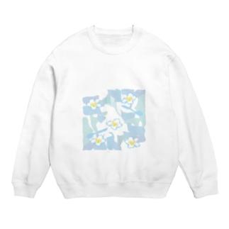 ジルトチッチのデザインボックスの南国ハワイの白いプルメリアの花のグッズ Sweats
