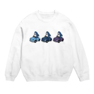 3色のクルマに乗るサメ 青・紫系 Sweats