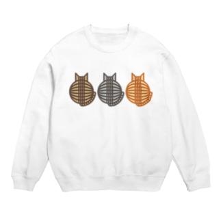 猫(3匹)の丸い背中 スウェット スウェット