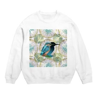 アール・ヌーヴォー風装飾と美しいカワセミのイラスト Sweats