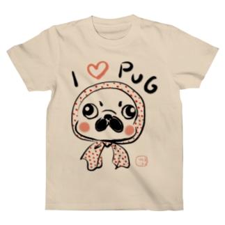 ほっかむりパグ Tシャツ