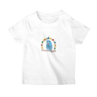 ブランコのマメルリハ(ブルー♂) T-shirts