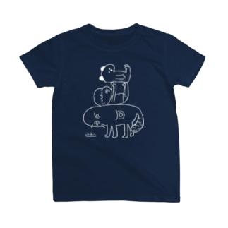 犬と赤子とイタチ(濃色用) T-shirts