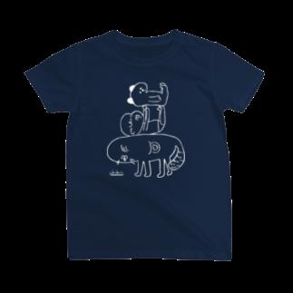 ububunの犬と赤子とイタチ(濃色用) Tシャツ