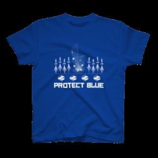 狐のProtect blue Tシャツ