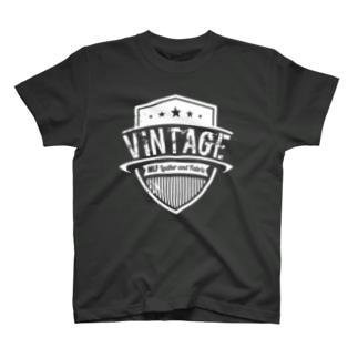 MLF-Vintage Emblemシリーズ-whiteロゴ T-shirts