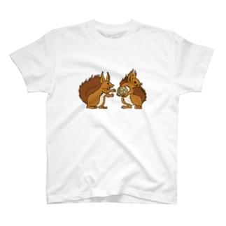 エゾリス|エサ取り合い Tシャツ