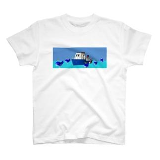 クジラとボート Tシャツ