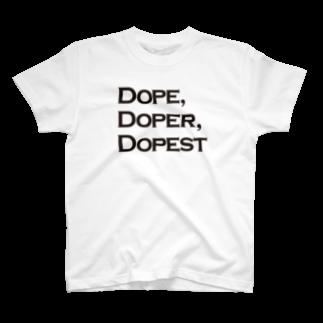 mangatronixのDope, Doper, Dopest(薄い色ボディ用)Tシャツ