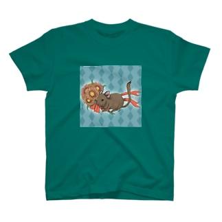 ガーベラブーケとデグーのイラスト Tシャツ