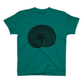 クレタ型迷宮図グリーン T-shirts