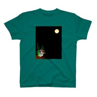 月とタマシギ♂♀ T-shirts
