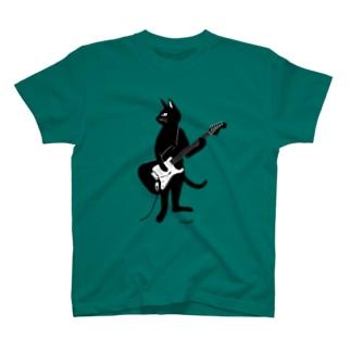 ギターを弾くネコ Tシャツ