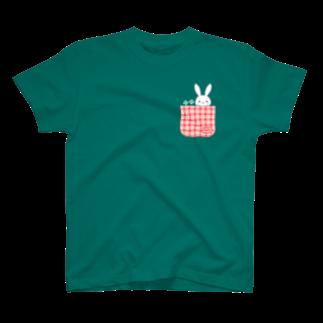 おがわゆきこの寂しがりうさぎ(ポケット×クローバー) T-shirts