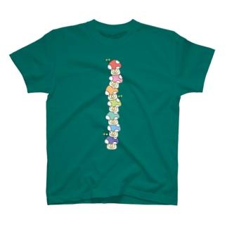 積み上げ7色きのこ T-shirts
