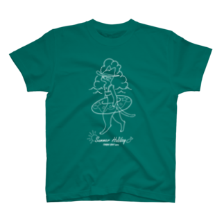 トンガリゴートの夏休みニャンコ-白- T-shirts