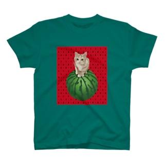 スイカに乗る猫 T-shirts