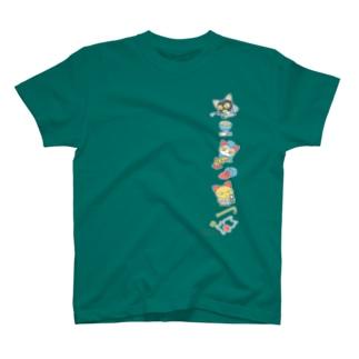忙しいねこたち 昭和のデカ タテ T-shirts