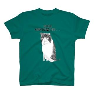 ユーモアネコデザイン「どおせかわいくないし」 T-shirts