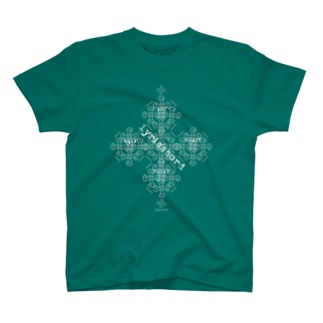 lyricchordクロス白ライン/ドローイングアート T-shirts