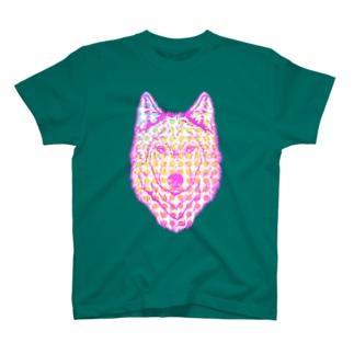 自己主張の強い一匹狼(ウルフフェイス)ピンク T-shirts