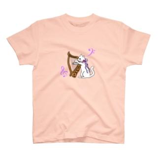 ハープを奏でる白猫 T-shirts
