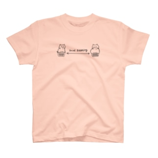 JapaneseRubberStampsのソーシャルディスタンスな猫たち T-shirts
