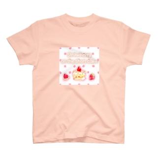 どるちぇ*うさぎの《フード01》*苺のショートケーキ*白ピンクドット T-shirts