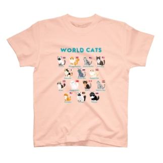 世界のイエネコちゃん 濃色 T-shirts