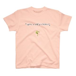 ユーモアもじりデザイン「はやくインゲンになりたい」 T-shirts