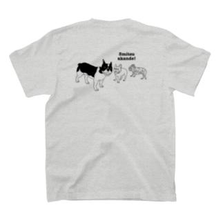 フレンチブルドッグ「3密あかんで〜」背面プリント T-Shirt