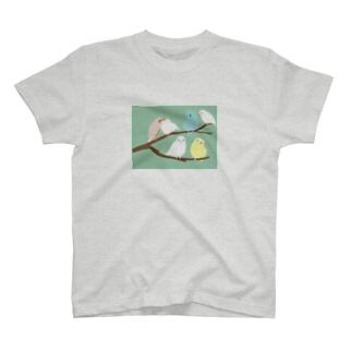 鳥のなる木 背景あり T-shirts