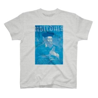 ノストラダムス_予言コラージュ_ブルー T-shirts