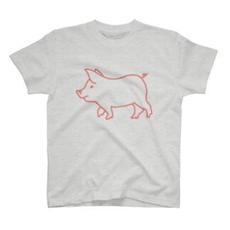 ピンク豚【線】 T-shirts