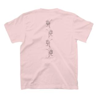 4連オオヒキガエル(交互)バックプリント T-shirts